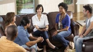 Group therapy session. Psychoeducational groups are a great way for patients to receive guidance.