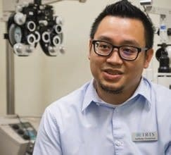 Anthony in his practicum as a Licensed Optician at IRIS, where he got his first job in the new career.