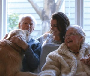 Montana, grandpa and grandma share a sweet moment. They're the reason she chose Gerontology.
